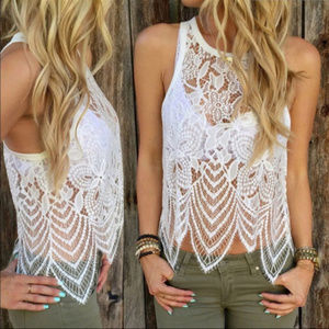 Tops - Summer Beach White Lace Sleeveless Tank Top + Gift